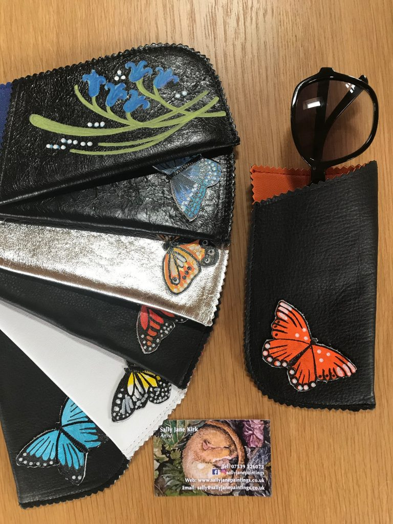 hand painted leather glasses cases