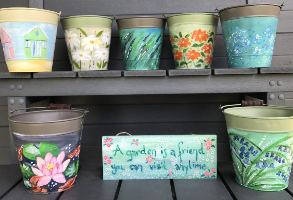 hand painted buckets
